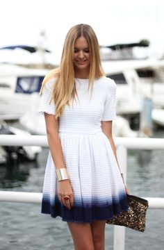 Faded blue and white dress