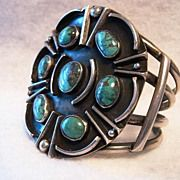 Smoky Bisbee Turquoise Navajo Cuff- VERY UNIQUE, 87 GRAMS!