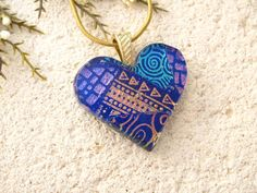 Rainbow Blue Heart Necklace Dichroic Jewelry Fused by ccvalenzo