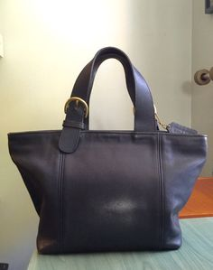 Coach Waverly Purse Tote Bag Navy Blue Made in by CraigOandAlice Vintage  Coach 34aec1fb6c1a2