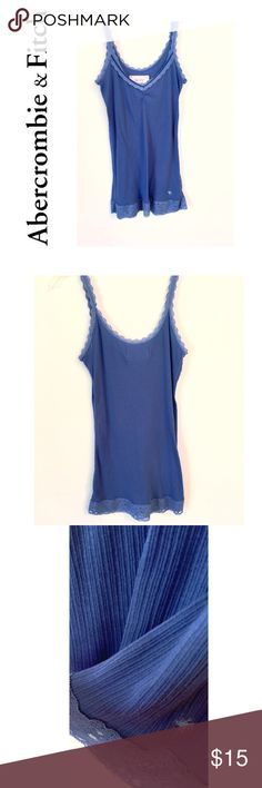 Abercrombie & Fitch Tank Top *Lace Trim Detail  *Never Worn. Perfect Conditon  *Color: Blue  *Size: Large  *60% Cotton/ 40% Polyester Abercrombie & Fitch Tops Tank Tops