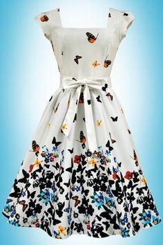Beautiful White Butterfly Border Swing Dress
