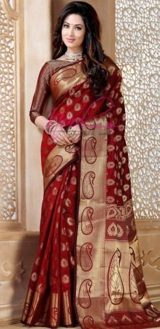 Nurjahaan Tussar Silk Sarees In Red Colour Chiffon Saree, Silk Sarees, Saris, Cotton Saree, Indian Dresses, Indian Outfits, Phulkari Saree, Velvet Saree, Wedding Sari