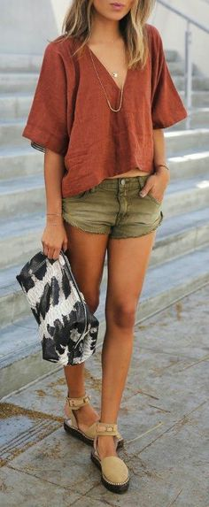 #summer #outfits / relaxed v neck t shirt + olive short shorts