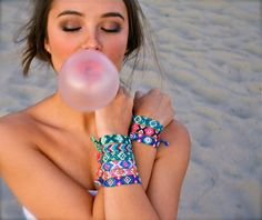 these bracelets/wearing eye makeup to the beach
