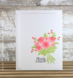 handmade thank you card by llwillison1 ... clean and simple ... beautiful bouquet of flowers stamped using color daubers on the stamp and placed perfectly with Stamp-A-Ma-Jig ...  pretty!! ... Avery Elle