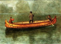 Albert Bierstadt (1830-1902) Fishing from a Canoe Oil on paper,laid down on canv 1859 50.8 x 37.15 cm (20 x 14.63)