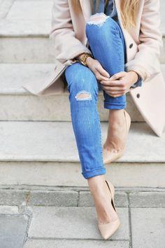 Jeans & Nude Heels