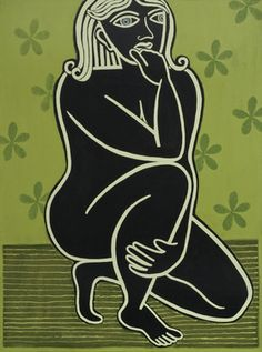 "Saatchi Online Artist Joyce Wynes; Painting, ""Black Thinking Lady"" #art"