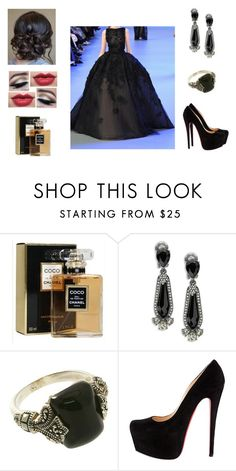 """""""I go back to black"""" by muppets-cookie-monster ❤ liked on Polyvore featuring Elie Saab, Chanel and Oscar de la Renta"""