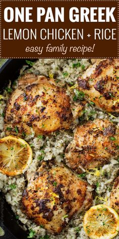Marinated Greek lemon chicken thighs are seared then baked on top of a lemon and herb flavored rice. The easiest one pan meal that the whole family will love! chicken recipes One Pan Greek Lemon Chicken and Rice - The Chunky Chef Lemon Chicken Rice, Lemon Chicken Thighs, Lemon Chicken Recipes, Baked Chicken, Healthy Chicken, Chicken Thigh Recipes, Greek Marinated Chicken, Boneless Skinless Chicken Thighs, Lime Chicken