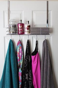 Over The Door Hooks With Shelf Chrome Finish Very Sturdy - Perfect For Your Dorm Room  Over The Door Hanger  Over The Door Basket  Over The Door Hooks Organizer Rack  Towel Hooks  Robe Hooks  Scarf And Tie Hanger  Coat Hooks And Hangers  Shower