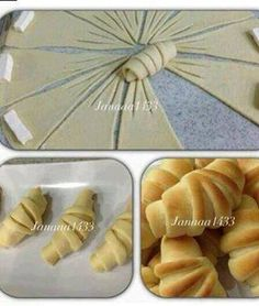 Crescent-shaped pirashki pastries perfectly formed little knots with characteristic trident embellishment cut from one circle of dough Crescent Rolls (picture tutorial only) A way to fancy your crescent rolls! Croissants - love the extra cuts, creates ano Bread Shaping, Good Food, Yummy Food, Bread And Pastries, Food Decoration, Creative Food, Food Design, Cooking Recipes, Bread Recipes