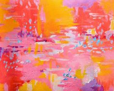 Original abstract art Peach orange pink sunset by garimadesigns, $45.00