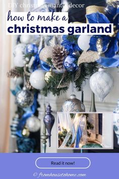 This blue, white and gold Christmas garland looks beautiful over this fireplace mantle. #fromhousetohome #christmas #DIYChristmas #Xmas #fireplace #christmasdecor Christmas Fireplace Garland, Diy Christmas Garland, Christmas Mantels, Fireplace Mantle, Blue Christmas Decor, Gold Christmas Decorations, Xmas, Christmas Holidays, White Christmas