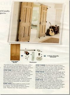 Office doors, $78: Fifty-eight dollars' worth of hardware—including casters and plumbing pipes—transformed two salvaged ten dollar doors into a barn-style entry. (hardware; homedepot.com)
