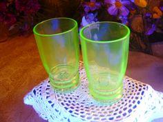 Vaseline Green Depression Glass Juice Tumbler  Water by zantana, $12.85