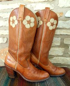 Vintage Tan Cowgirl Cowboy Boots with Daisy Inlays by Acme size 7 N on Etsy, $129.00