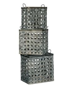 Shop for Whitewashed Square Baskets - Set of Get free delivery On EVERYTHING* Overstock - Your Online Home Decor Outlet Store!