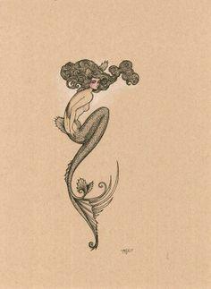 Desenhos Old School, Mermaid Tattoos, Siren Tattoo, Octopus Tattoos, Mermaid Art, Siren Mermaid, Vintage Mermaid, Bild Tattoos, Mermaids And Mermen