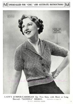 Understanding The Vintage Sewing Pattern - Sewing Method Crochet Vintage, Vintage Knitting, Vintage Sewing Patterns, Knitting Patterns, Crochet Patterns, Knitting Tutorials, Loom Knitting, Knitting Ideas, Knit Cardigan Pattern