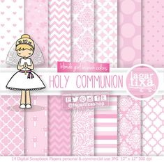 Papel Digital y Clip art Primera Comunion Rubia, Confirmación, niña rezando, en oración, Cruces Espiritu Santo Rosa  Invitaciones Lagartixa