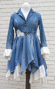 Boho Denim Jacket Coat Lace Blue Jean Long by PrimitiveFringe