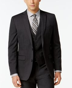 Bar III Dark Charcoal Slim-Fit Suit Separates | macys.com