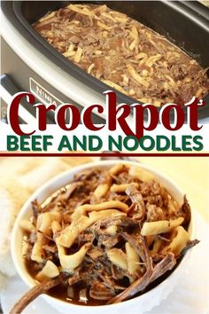 Looking for the best beef and noodles crockpot recipe for the busy week ahead? You'll want to try this easy slow cooker beef and noodles that is perfect for the whole family. This beef and noodles can Beef And Noodles Crockpot, Crockpot Dishes, Crock Pot Cooking, Easy Beef And Noodles Recipe, Crockpot Beef Recipes, Beef Meals, Canned Beef Recipe, Easy Dinner Recipes, Gourmet Recipes