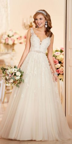 Stella York A-line Wedding Dress with Plunging Neckline style 6291 a / http://www.deerpearlflowers.com/stella-york-fall-2016-wedding-dresses/2/