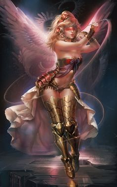 """""""Galactic Angel"""" by *sakimichan on deviantART. (Completely objectifying females in fantasy/sci-fi? Yes. Sensual and beautifully-painted? Obviously. Hence, it's here.) #sakimichan #paintings #digital #art #pink #angels #wings #fabric #women #sensual"""