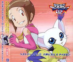 Kari and Gatomon from a CD cover. Nichijou, Karaoke, Cd Drama, Digimon Adventure Tri., Brave, Pokemon, Odaiba, Card Captor, Slash
