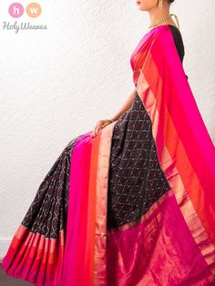 #Black #Handwoven #Katan #Silk #Pochampally #Saree #HolyWeaves