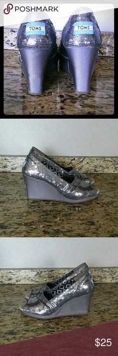 TOMS PEEPTOE  WEDGES TOMS Silver Sparkly Peeptoe Wedges TOMS Shoes Wedges