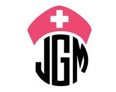 nurse hat monogram frame silhouette svg dxf file instant download silhouette cameo cricut clip art