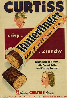 """1953 """"BUTTER FINGER AD"""