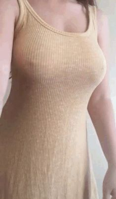 Naked brunette with medium natural boob gif