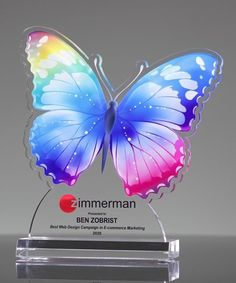 The butterlfy is a syblol of change, joy and color. Our beautiful Colorful Butterfly Award can be used for a variety of recognition themes such as creativity, bright ideas and achievements in design, or printing. Spot Uv Business Cards, Transparent Business Cards, Acrylic Plaques, Acrylic Trophy, Glass Awards, Crystal Awards, Identity Card Design, Acrylic Wedding Invitations, Acrylic Awards
