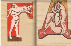 Erotic alphabet book printed in the Soviet Union circa made to combat adult illiteracy, by the sculptor and future People's Artist of the USSR Sergei Merkurov [Сергей Меркуров] Images Alphabet, Alphabet Book, Russian Alphabet, Museum Of Fine Arts, Soviet Union, Erotic Art, Retro, Illustration, Aurora Sleeping Beauty