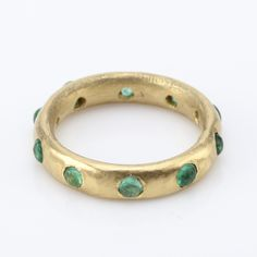 Giotto emerald and 20k gold ring