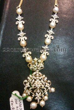 Jewellery Designs: CZs and South Pearl Necklace