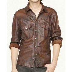 V Tab Leather Shirt Jacket : MakeYourOwnJeans®: Made To Measure Custom Jeans For Men & Women, Customize Jeans, Suits, Leathers Mens Leather Shirt, Leather Jeans, Lambskin Leather, Real Leather, Leather Jackets, Brown Leather, Napa Leather, Classic Leather, Distressed Leather