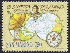 San Marino Scott #1230 (22 Mar 1991) Map of Columbus' first voyage to the New World and navigational instruments: quadrant, sandglass, compass.
