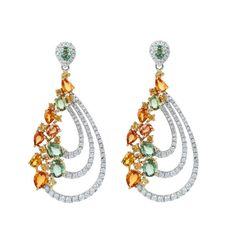Pumpkin Spice  18K White Gold Earrings  Gold: 9.90 gms Diamonds: 1.25 cts Sapphire: 5.42 cts