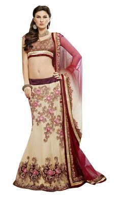 Designer Beige Embroidered Net Unstitched Lehenga at Mirraw.