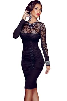 Dear Lover new autumn black sexy vestido de renda Floral Applique Lace  Ruched Bodycon Midi Dress 14adc9ea9