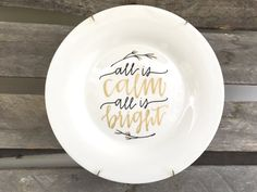 Hand Lettered + Modern Calligraphy Decorative Custom Illustration + Quote Christmas Plates + Wall Decor + Home and Kitchen Decor