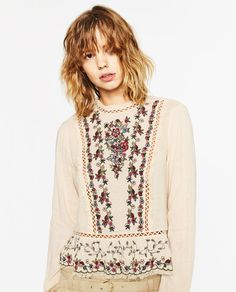 Image 2 of EMBROIDERED FRILLED TOP from Zara