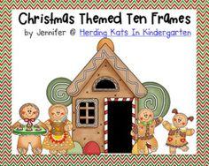 Christmas Ten Frames Unit (Gingerbread, Santa & Reindeer, Trees and Presents)  $