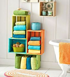 Bathroom Storage Ideas for Small Spaces - Colorful Wooden Crates - Click Pic for 42 DIY Bathroom Organization Ideas